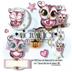 FREE Bonus January 2017 Owls by Alicia Mujica