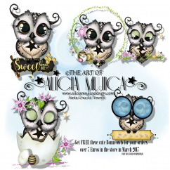 FREE Bonus March Owl by Alicia Mujica 2017