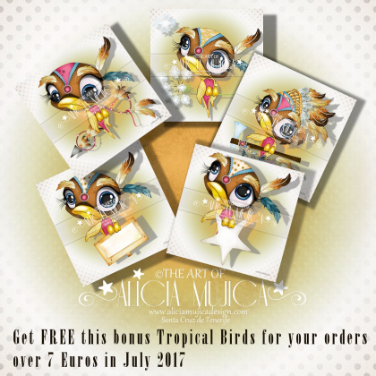 FREE  Bonus Tropical Birds July by Alicia Mujica 2017