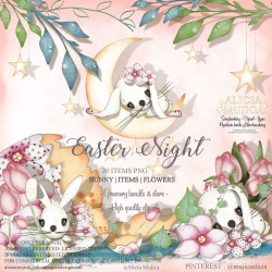 Easter Night Bunnies by Alicia Mujica 2019