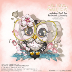 Owl March 2019 Black with glasses by Alicia Mujica