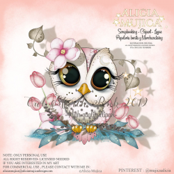 Owl March 2019 Pink by Alicia Mujica