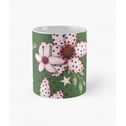 Taza Mod kaki with pink flowers