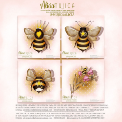 Clip art bees Pack by Alicia Mujica September 2019