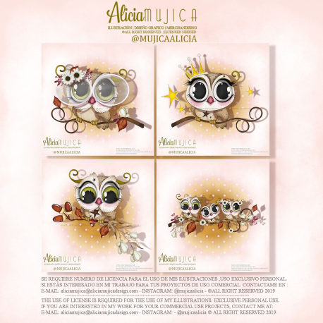 Clip art Owls Pack by Alicia Mujica September 2019