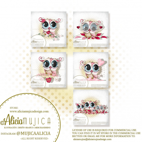 Saint Valentine Owls 2020 by Alicia Mujica