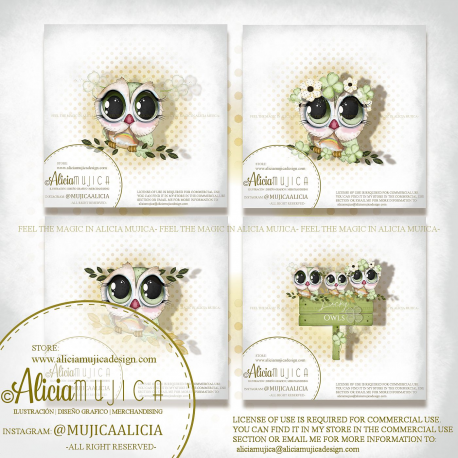 Saint Patricks Owls  by Alicia Mujica 2020