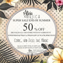 Super sales 50 % End of Summer in Alicia Mujica