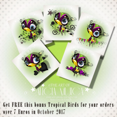 FREE Bonus Tropical Birds October by Alicia Mujica 2017